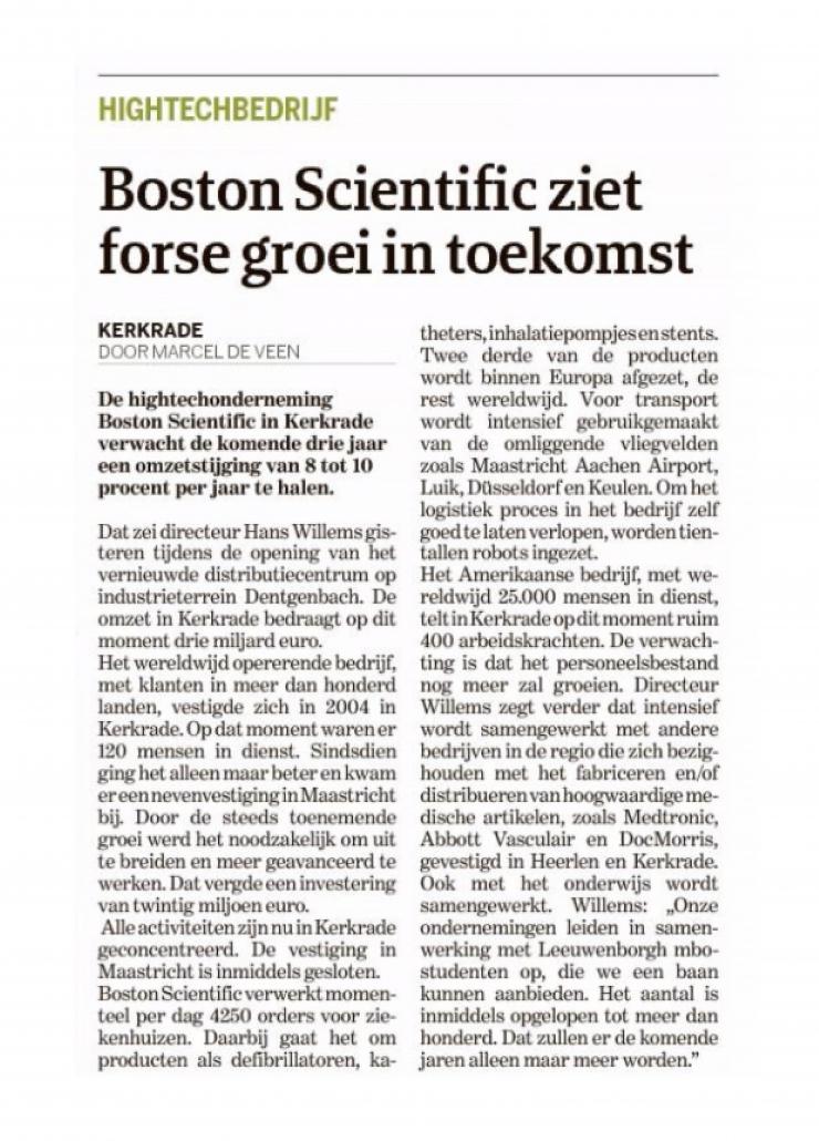 groei, partner, Boston Scientific, De Limburger, beyond